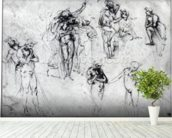 Study of nude men (pen and ink on paper) wall mural in-room view