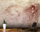 Sketch of a roaring lion (red chalk on paper) wall mural kitchen preview