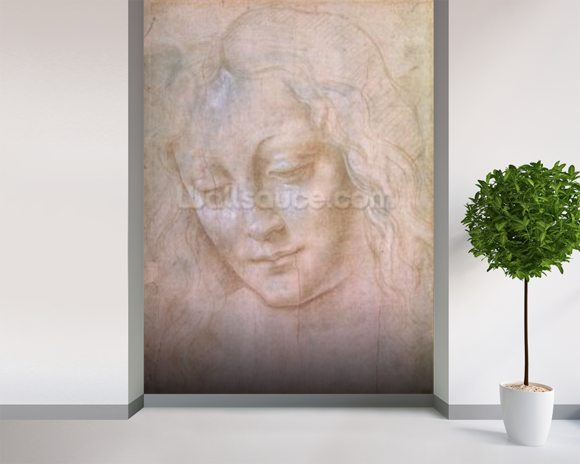 Head of a woman (metal point heightened with gouache) wallpaper mural room setting