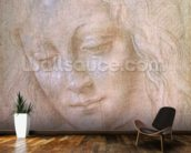 Head of a woman (metal point heightened with gouache) wallpaper mural kitchen preview