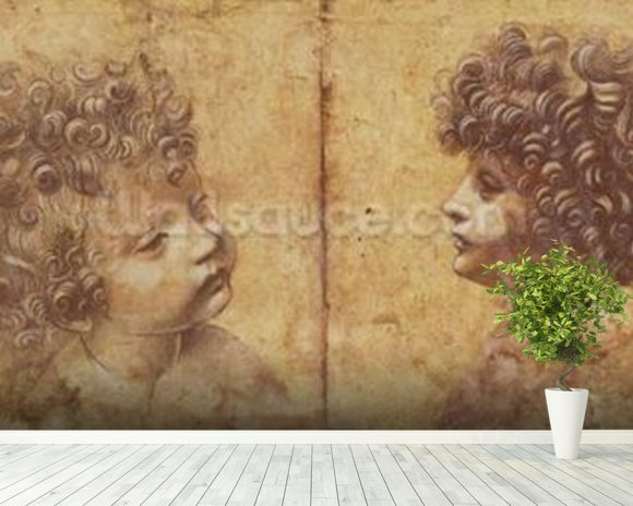 Study of a childs head (red chalk heightened with white on paper) mural wallpaper room setting