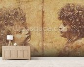 Study of a childs head (red chalk heightened with white on paper) mural wallpaper living room preview