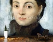 Portrait of Josephine Gaujelin, 1867 (oil on mahogany panel) mural wallpaper kitchen preview