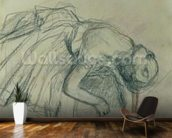 Dancer Fixing her Slipper, c.1865 (charcoal on paper) wall mural kitchen preview
