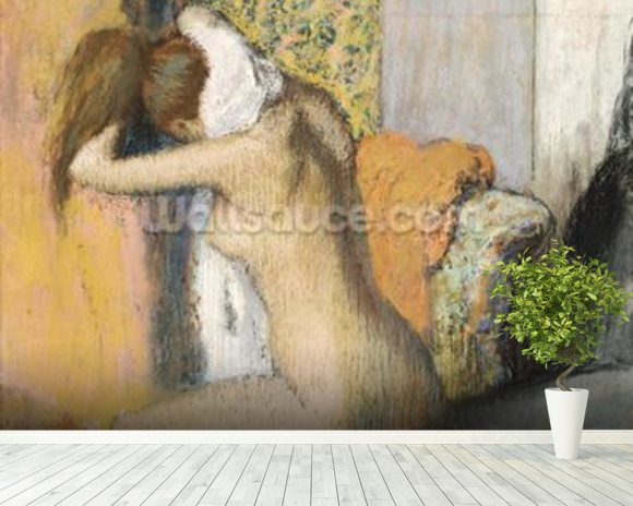 After the Bath, Woman Drying her Neck, 1898 (pastel on mounted paper) wallpaper mural room setting