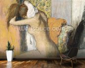 After the Bath, Woman Drying her Neck, 1898 (pastel on mounted paper) wallpaper mural kitchen preview