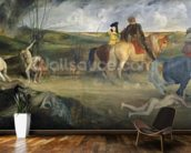 Scene of War in the Middle Ages, c.1865 (oil on canvas) mural wallpaper kitchen preview