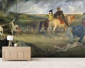 Scene of War in the Middle Ages, c.1865 (oil on canvas) mural wallpaper living room preview