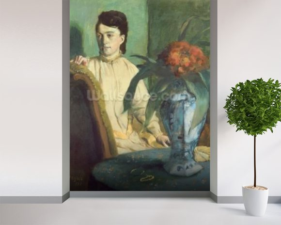 Woman with the Oriental Vase, 1872 (oil on canvas) wallpaper mural room setting