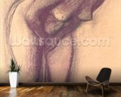 Female Standing Nude (charcoal and pastel) mural wallpaper kitchen preview