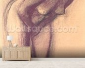 Female Standing Nude (charcoal and pastel) mural wallpaper living room preview