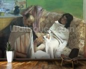 The Pedicure, 1873 (oil on paper laid on canvas) mural wallpaper kitchen preview