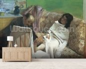 The Pedicure, 1873 (oil on paper laid on canvas) mural wallpaper living room preview