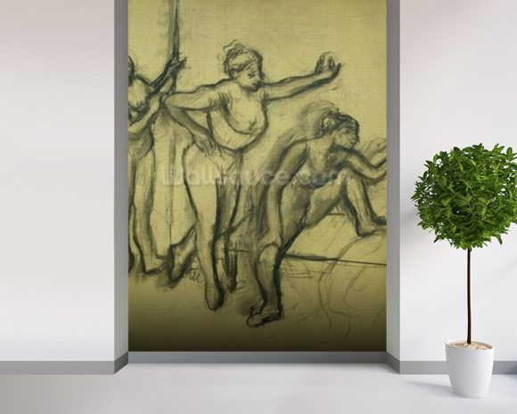 Three Dancers, c.1900 (charcoal on paper) wallpaper mural room setting