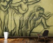 Three Dancers, c.1900 (charcoal on paper) wallpaper mural kitchen preview