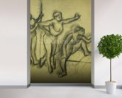 Three Dancers, c.1900 (charcoal on paper) wallpaper mural in-room view