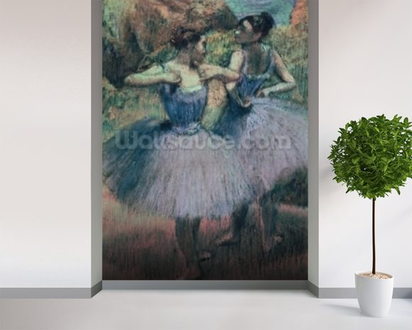 Dancers in Violet (pastel on paper) wallpaper mural room setting