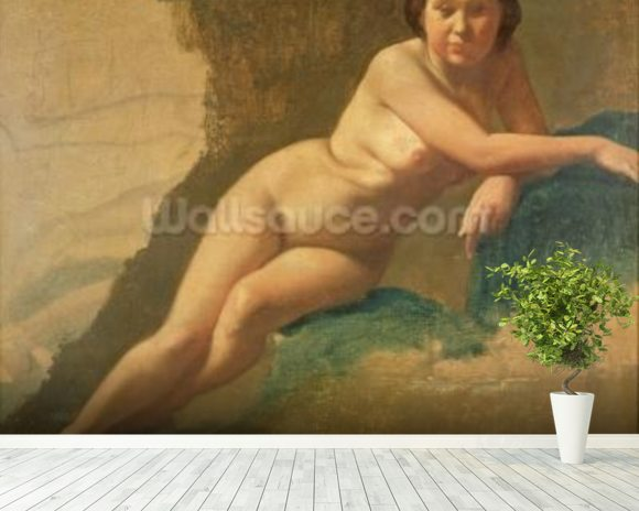Nude Study, c.1858-60 (oil on canvas) mural wallpaper room setting