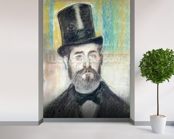 Man in an Opera Hat (pastel on paper) mural wallpaper room setting