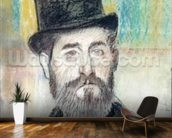 Man in an Opera Hat (pastel on paper) mural wallpaper kitchen preview