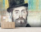 Man in an Opera Hat (pastel on paper) mural wallpaper living room preview