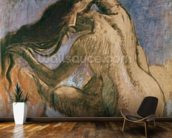 Woman Combing her Hair, 1905-10 (pastel on paper) wallpaper mural kitchen preview