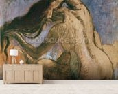 Woman Combing her Hair, 1905-10 (pastel on paper) wallpaper mural living room preview