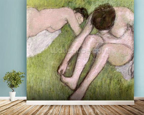 Two Bathers on the Grass, c.1886-90 (pastel on paper) mural wallpaper room setting