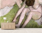 Two Bathers on the Grass, c.1886-90 (pastel on paper) mural wallpaper living room preview