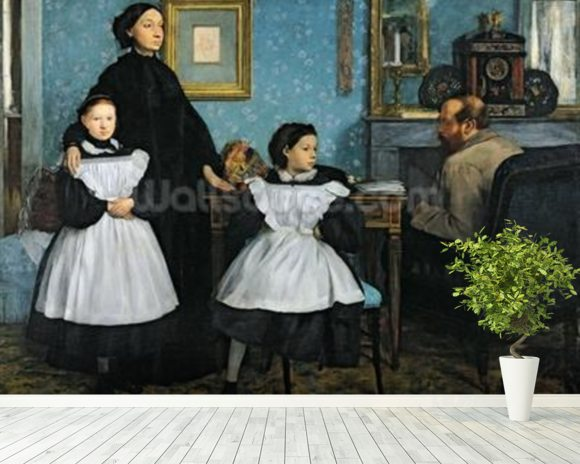 The Bellelli Family, 1858-67 (oil on canvas) mural wallpaper room setting