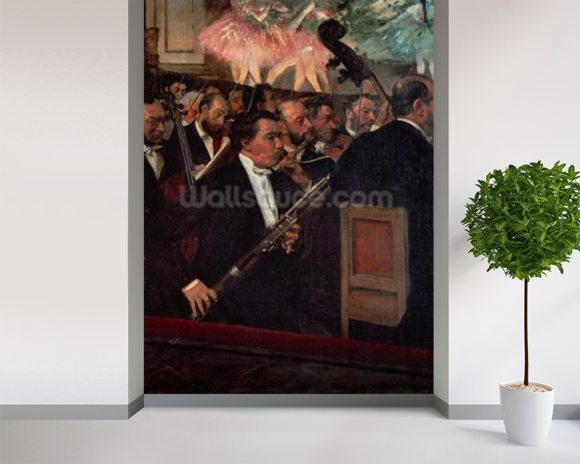 The Opera Orchestra, c.1870 (oil on canvas) wall mural room setting