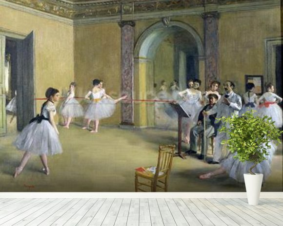 The Dance Foyer at the Opera on the rue Le Peletier, 1872 (oil on canvas) wallpaper mural room setting