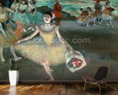 Dancer with bouquet, curtseying, 1877 (pastel on paper) wallpaper mural kitchen preview