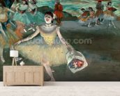 Dancer with bouquet, curtseying, 1877 (pastel on paper) wallpaper mural living room preview