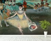 Dancer with bouquet, curtseying, 1877 (pastel on paper) wallpaper mural in-room view
