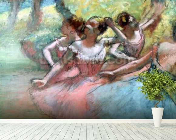 Four ballerinas on the stage (pastel) mural wallpaper room setting