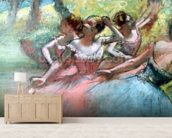 Four ballerinas on the stage (pastel) mural wallpaper living room preview