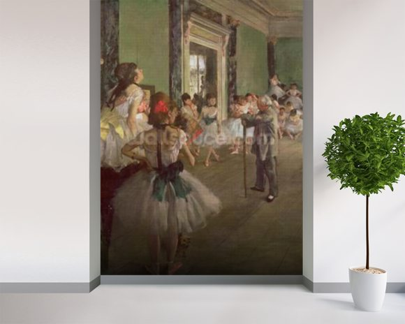 The Dancing Class, c.1873-76 (oil on canvas) wallpaper mural room setting