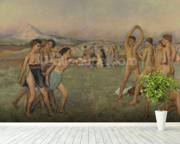 Young Spartans Exercising, c.1860 (oil on canvas) wallpaper mural room setting