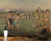 Young Spartans Exercising, c.1860 (oil on canvas) wallpaper mural kitchen preview