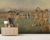 Young Spartans Exercising, c.1860 (oil on canvas) wallpaper mural living room preview