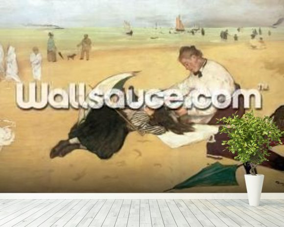 Beach scene: little girl having her hair combed by her nanny, c.1876-77 (oil on paper) mural wallpaper room setting