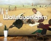 Beach scene: little girl having her hair combed by her nanny, c.1876-77 (oil on paper) mural wallpaper kitchen preview