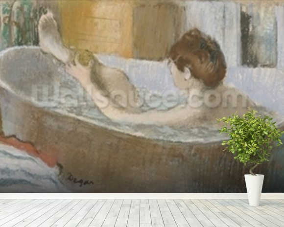 Woman in her Bath, Sponging her Leg, c.1883 (pastel on paper) wall mural room setting