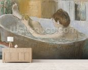 Woman in her Bath, Sponging her Leg, c.1883 (pastel on paper) wall mural living room preview
