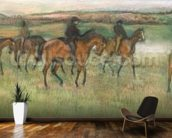 Racehorses (pastel) wallpaper mural kitchen preview