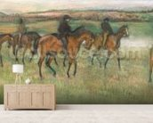 Racehorses (pastel) wallpaper mural living room preview