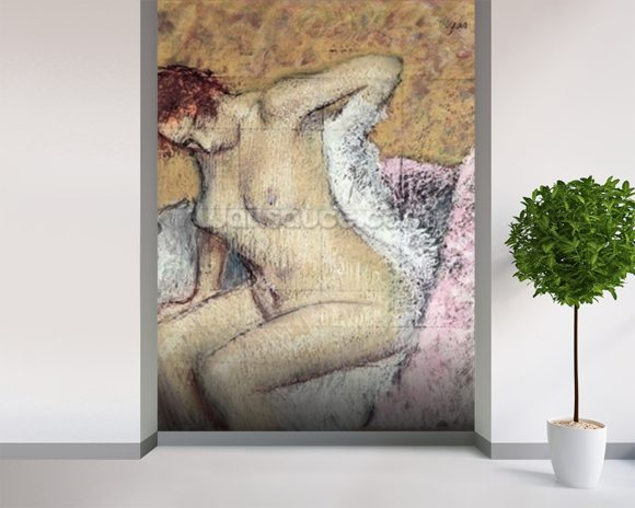 After the Bath (pastel & gouache on paper) mural wallpaper room setting
