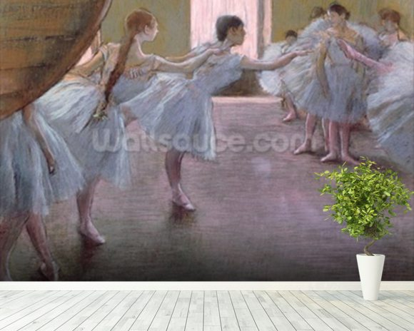 Dancers at Rehearsal, , 1875-1877 (pastel on cardboard) wall mural room setting