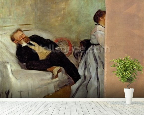 Monsieur and Madame Edouard Manet, 1868-69 (oil on canvas) mural wallpaper room setting